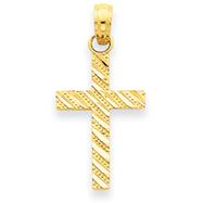 14K Gold Diamond-Cut Cross Pendant