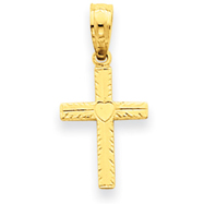 14K Gold Mini Cross Heart Pendant