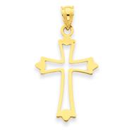 14K Gold Budded Cross Pendant