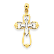 14K Gold & Rhodium Diamond-cut Cross Pendant