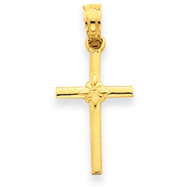 14K Gold Polished Cross Charm
