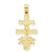 14K Gold Cara Vaca Crucifix Pendant