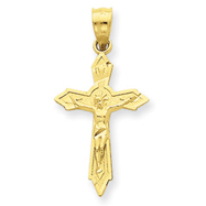14K Gold Satin & Diamond -Cut Crucifix Charm