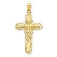 14K Gold INRI Crucifix Pendant