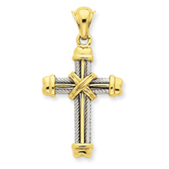 14K Two-Tone Gold Cross Pendant