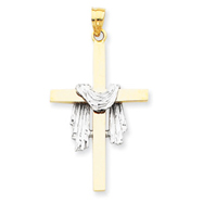 14K Two-Tone Gold Draped Cross Pendant