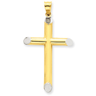 14K Gold & Rhodium 3-D Hollow Cross Pendant