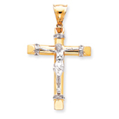 14K Two-tone Gold Cubic Zirconia Crucifix Pendant