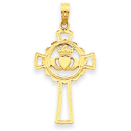 14K Gold Claddagh Cross Pendant