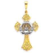14K Two-Tone Gold Claddagh Cross Pendant