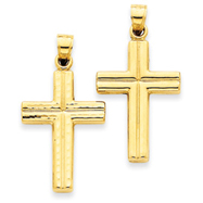 14K Gold  Reversible Diamond Cut Cross Pendant