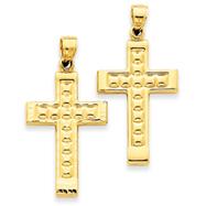 14K Gold Reversible Diamond Cut Cross Pendant