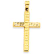 14K Gold Diamond Cut Hollow Cross Pendant