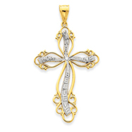 14K Gold  & Rhodium Cross Pendant