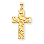 14K Gold  Polished & Satin Nugget Cross Pendant
