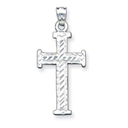 Sterling Silver Diamond -Cut Cross Pendant