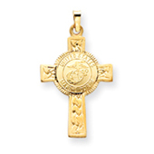14K Gold Cross With Marine Corps Insignia Pendant