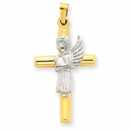 14K Gold  Angel & Cross Pendant