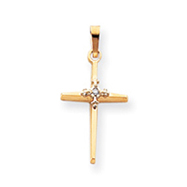 14K Gold  Diamond Passion Cross Pendant