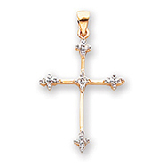 14K Gold & Rhodium Diamond Cross Pendant