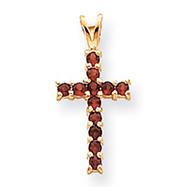 14K Gold Garnet Cross Pendant
