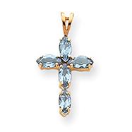 14K Gold Blue Topaz Cross Pendant