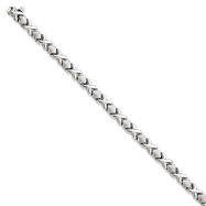 14K  White Gold Hollow Satin Polished X & O Stampato Bracelet