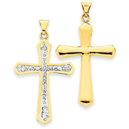 14K Gold Reversible Crystal Passion Cross Pendant
