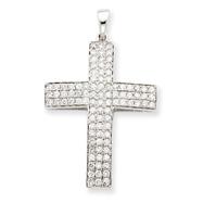 14K  White Gold Diamond Latin Cross Pendant
