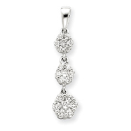 14K White Gold Fancy 3-Stone Diamond Pendant