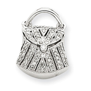14K  White Gold Hollow  Quality Completed 3-Dimensional Handbag Pendant