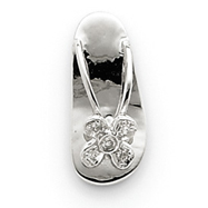 14K  White Gold Diamond Sandal Pendant