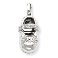 14K  White Gold Diamond Baby Girl Shoe Pendant