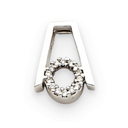 14K White Gold Abstract Diamond Circle Pendant