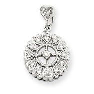 14K  White Gold Diamond Vintage Circle Pendant