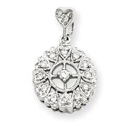 14K  White Gold Diamond Vintage Circle Pendant