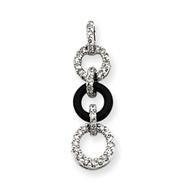 14K  White Gold Diamond & Onyx Circle Pendant