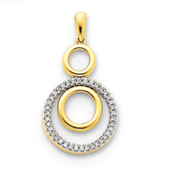 14K Gold  Diamond Circles Pendant