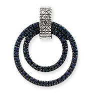 14K  White Gold Diamond & Sapphire Circle Pendant