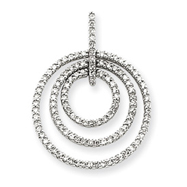 14K  White Gold Triple Circle Diamond Pendant