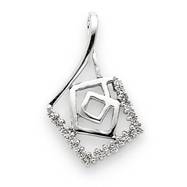 14K  White Gold Diamond Pendant