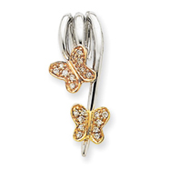 14K Tri-Color Gold Diamond Butterfly Slide Pendant