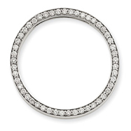 14K White Gold  1Ctw Circle Diamond Pendant
