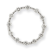 14K White Gold 0.500Ctw  Diamond Circle Chain Slide