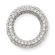 14K White Gold Diamond Small Circle Slide