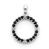 14K  White Gold Sapphire & Diamond Circle Pendant
