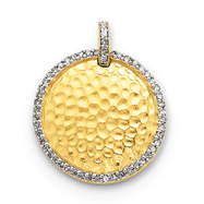 14K Gold Hammered Circle & Diamond Pendant