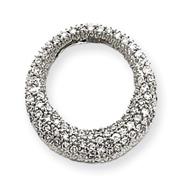 14K  White Gold  Pave Diamond Circle Pendant