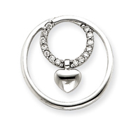 14K  White Gold Diamond Circle Heart Pendant