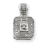 14K White Gold .05Ctw Vintage Diamond Pendant